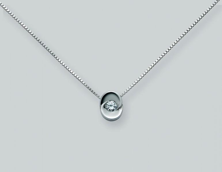 Retiazka s príveskom a s diamantom. 750 1000 - 18 karátové biele zlato. 76407e8cc82