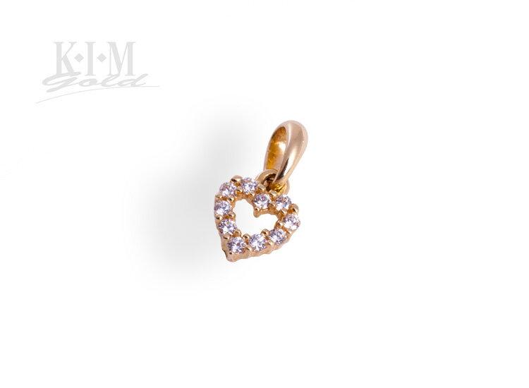Zlatý prívesok srdiečko so zirkónmi K332 ž 32d26eb11e0