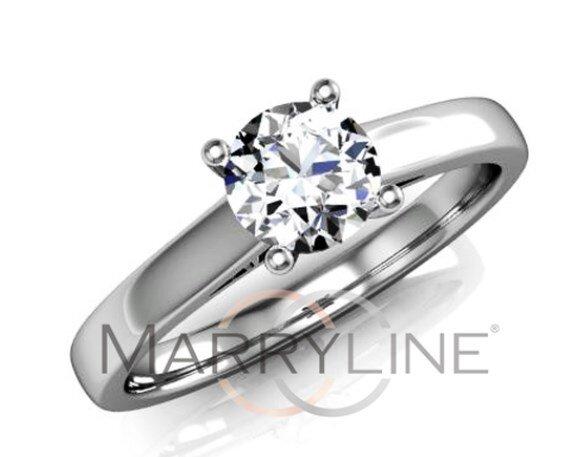 Zásnubný prsteň s briliantom z bieleho zlata R083b Briliant-0 ad9a917d19d