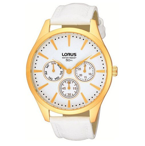 Dámske športové hodinky Lorus s bielym koženým remienkom a zlatým ciferníkom.  Lorus RP696AX9 34dffb72ab8