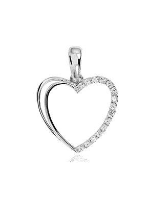 624c12671 Prívesok srdce 585/1000 K315 z bieleho zlata stredné