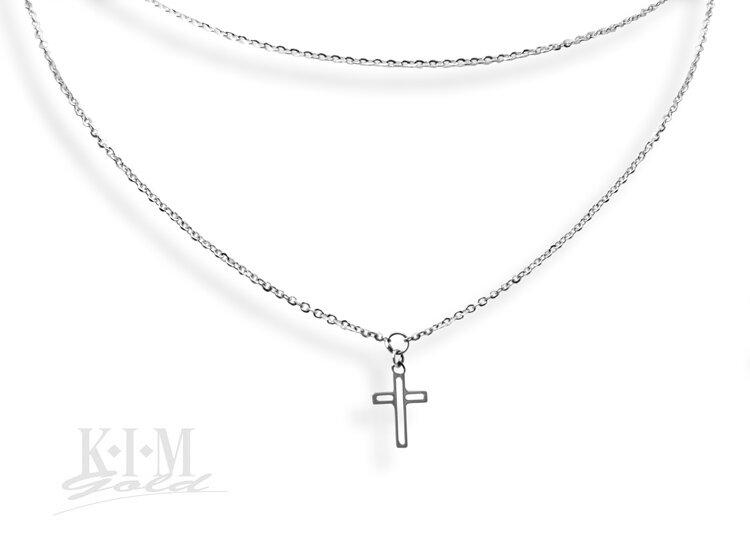 220945e6b Dámska dvojitá retiazka z bieleho zlata s krížikom K446 b