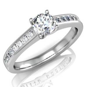 787ee85bb Zásnubný prsteň z bieleho zlata s postrannými kameňmi R029b + darčekové  balenie zdarma
